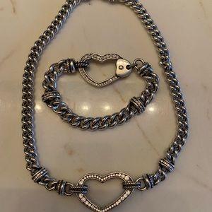 Heart Rhinestone Necklace and matching Bracelet